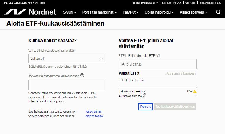 Nordnet ETF-kuukausisäästäminen