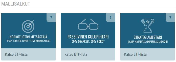 Passiivinen Kulupihtari -mallisalkku ja muut ETF-mallisalkut löytyvät myös ETF-työkalusta.