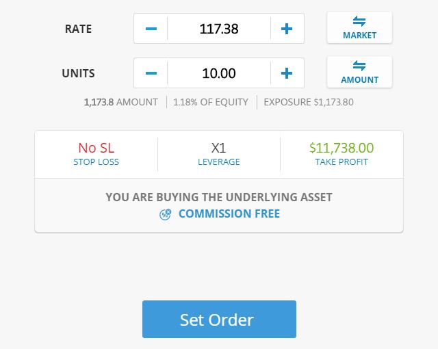 eToro Valitse ostettava määrä (kpl tai USD) ja hinta (markkinakurssi tai oma tarjous). Toteuta kauppa, ja seuraa salkun kehitystä.